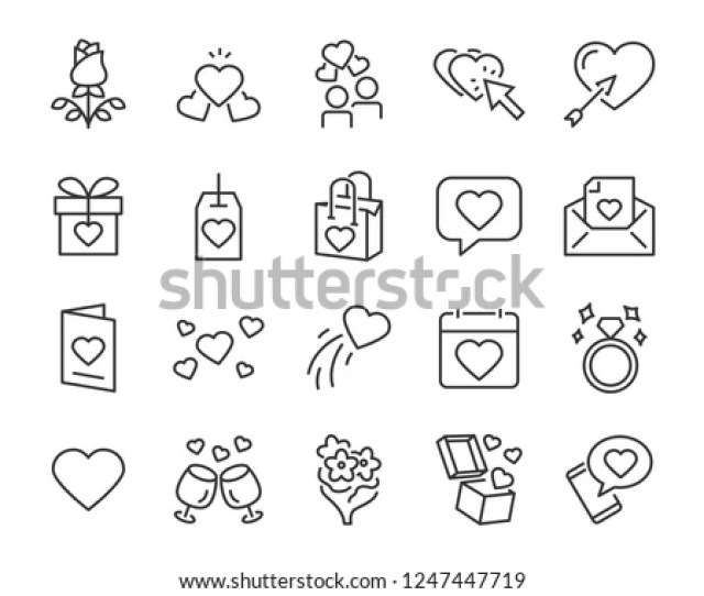 Set Of Valentines Day Icons Such As Celebration Happy Romantic Heart