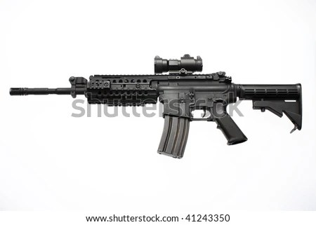 An American M4/M16 Assault Rifle With A Red Dot Scope Used