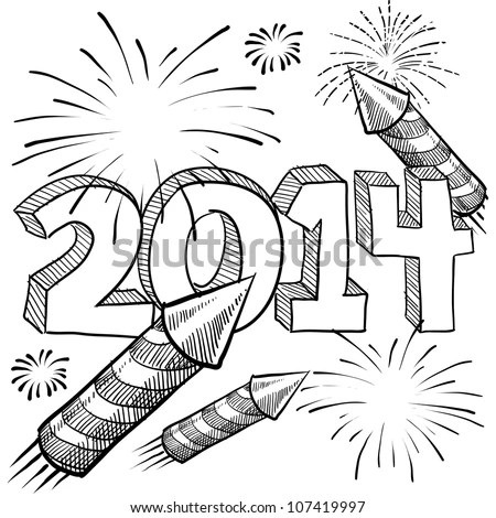 Doodle Style 2014 New Year Illustration In Vector Format