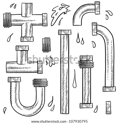 Doodle Style Water Pipes Sketch In Vector Format. Includes