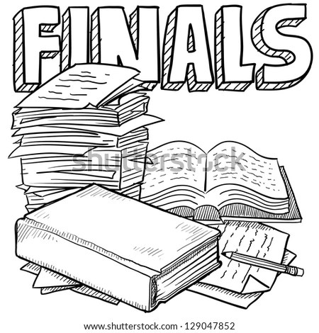 Doodle Style Final Exams Illustration In Vector Format