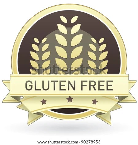 stock vector : Gluten free food label, badge or seal with brown and tan color and wheat or grain emblem in vector style