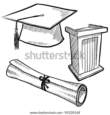 Doodle Style Graduation Or School Vector Illustration With