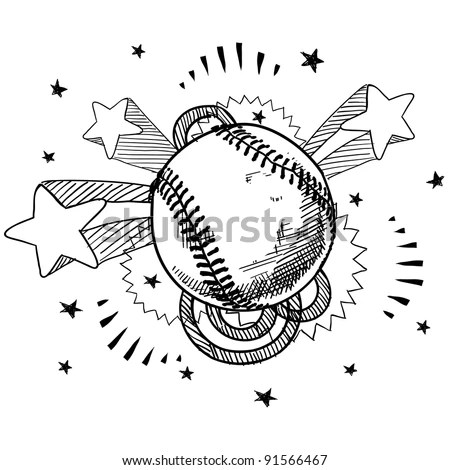 Doodle Style Baseball Illustration In Vector Format With