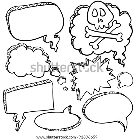 Doodle Style Cartoon Conversation, Speech, Or Thought