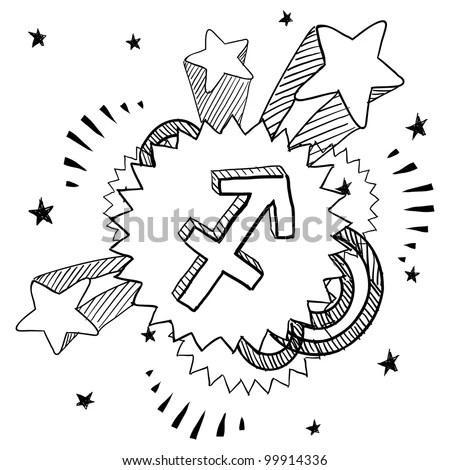 Doodle Style Zodiac Astrology Symbol On 1960s Or 1970s Pop