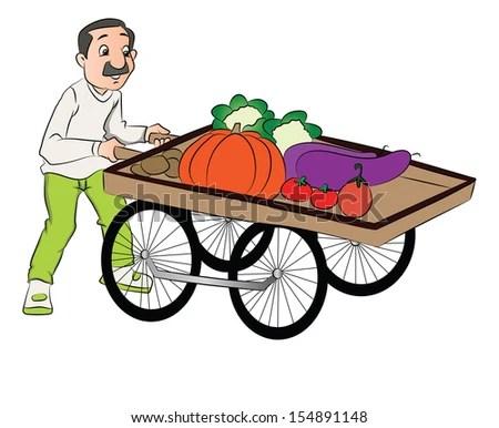 Vector illustration of vendor pushing vegetable cart.