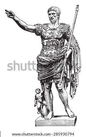 Statue Of Augustus, Vintage Engraved Illustration