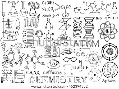 Chemistry Science Doodle Hand Drawn… Stock Photo 452394346