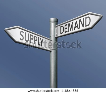 supply and demand market economy - stock photo