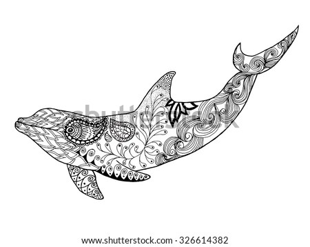 Zentangle vector sea Dolphin for adult… Stock Photo