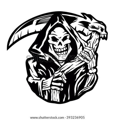 Tattoo design of a grim reaper holding… Stock Photo
