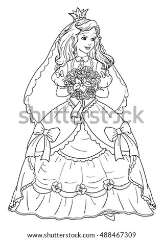 Coloring Page With Beautiful Princess Bride Stock Photo