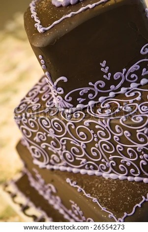 Chocolate Wedding Cake Close Up With Details In Purple