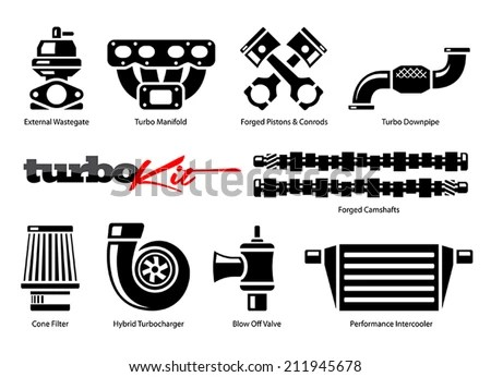 Vehicle Parts Icons For High Performance Turbo Kit Stock
