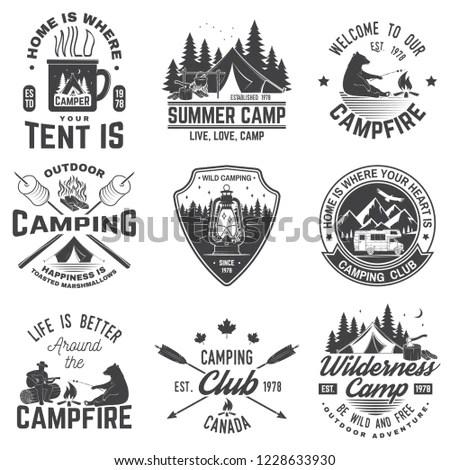 Set of vintage whitewater rafting logo,… Stock Photo