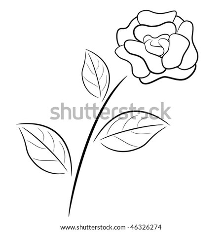 Abstract Black And White Rose In Outline Drawing Style