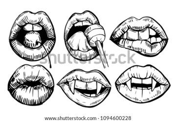 lips vampire teeth cherry lolipop outline drawn hand sketch vector converted isolated
