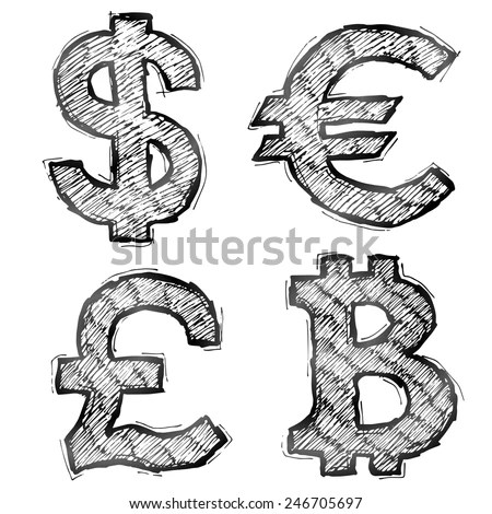 Hand Drawn Money Symbols With Hatching. Sketch Of Currency