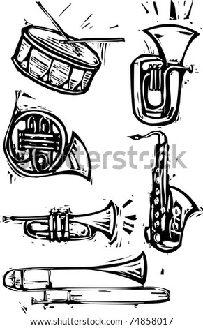 Different Brass Instruments And A Drum, Saxophone, French