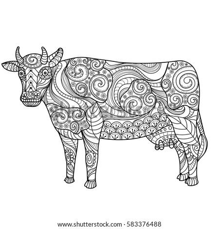 Cow on white background. Farm animal. Black and white
