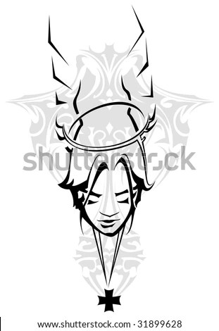 stock vector : Praying angel tattoo design