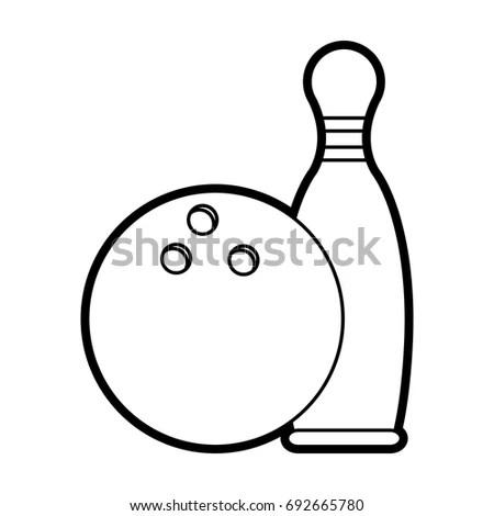 Bowling skittles and ball sketch vector… Stock Photo