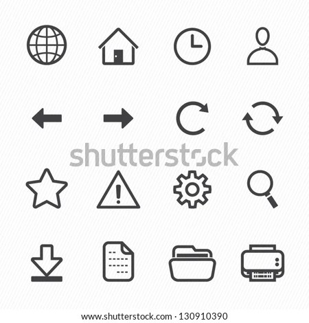 Website And Toolbar Icons With White Background Stock