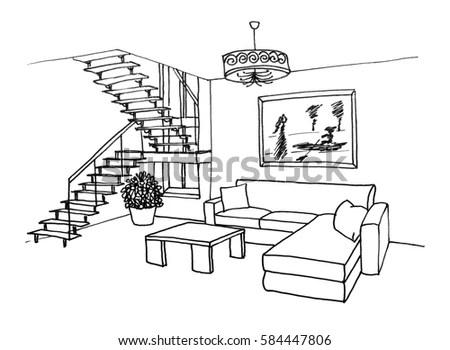 Interior outline sketch. Furniture… Stock Photo 211532638