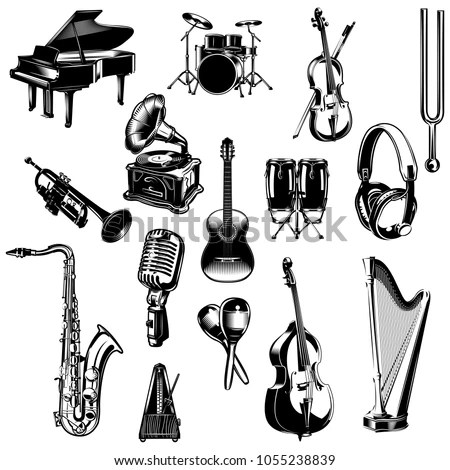 Music instruments drawings set Stock Photo 169828478