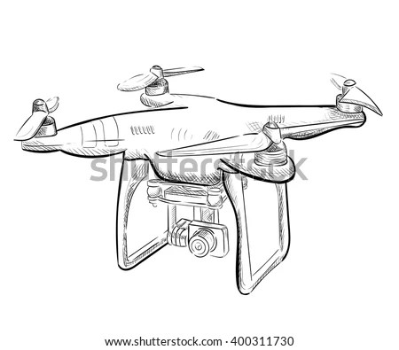 Hand Draw Vector Illustration Aerial Vehicle (Quadrocopter