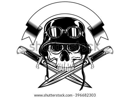 Skull wearing retro motorbike helmet Stock Photo 144550448