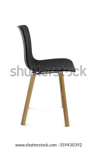 black plastic chair with wooden legs cheetah print heel modern wood side view ez canvas