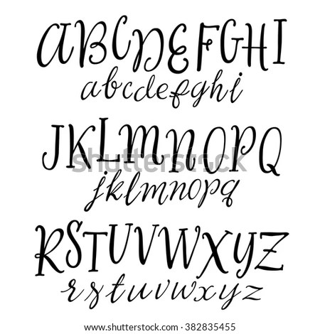 Vector Hand Drawn Alphabet. Handwritten Script Font