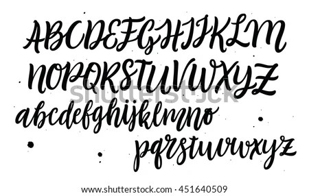 Hand Drawn Typeface Set. Brush Painted Characters