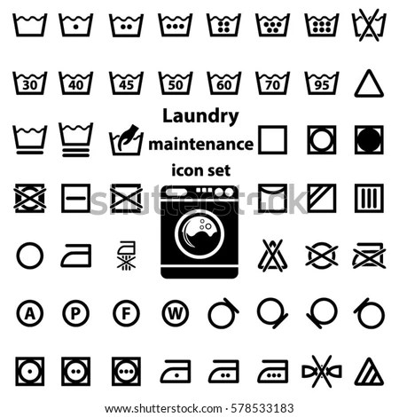 Royalty-free Icon set of laundry symbols, vector