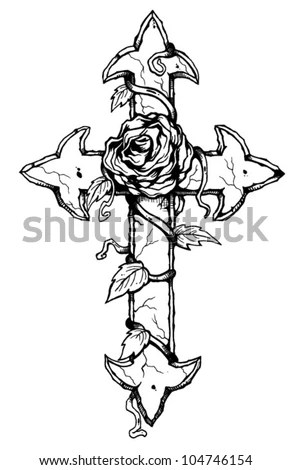 Rose And Cross Stock Vector Illustration 104746154