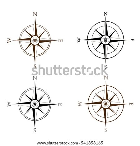 Wind rose compass flat vector symbols… Stock Photo