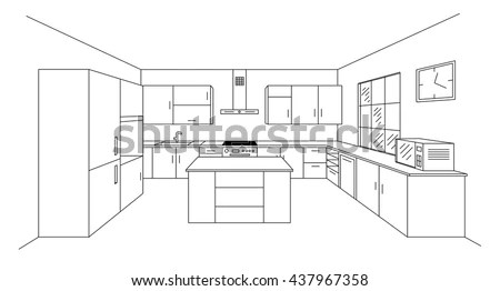Sketch hand drawing kitchen interior… Stock Photo