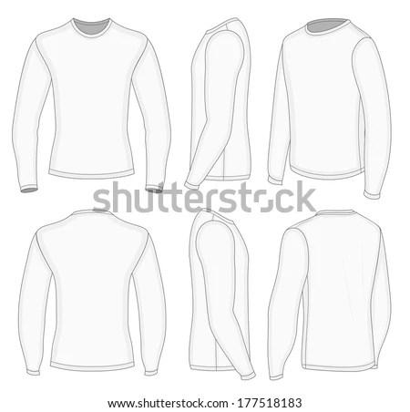 All views men's white long sleeve polo… Stock Photo