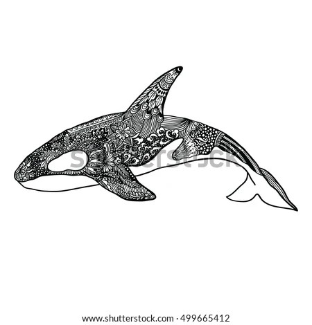 Hand drawn doodle dolphin zen tangle… Stock Photo