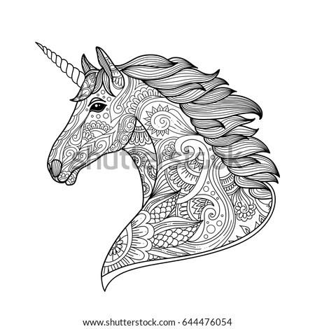 Drawing unicorn zentangle style for… Stock Photo 557920411