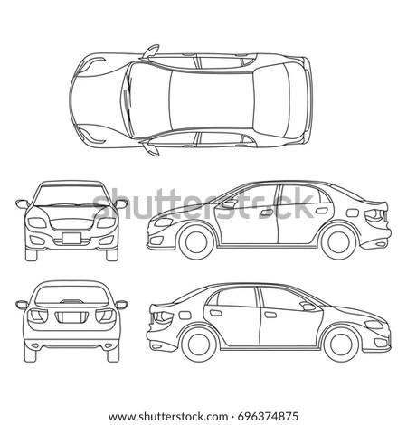 Outline sedan car vector drawing in… Stock Photo 604077962