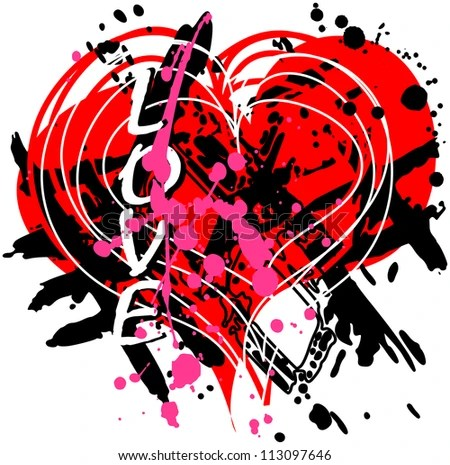 love and heart design, grungy - stock vector