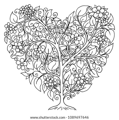 Handmade Abstract Heart frame in Zen… Stock Photo