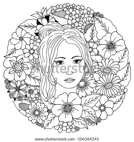 Royalty-free Doodle floral pattern and young girl's