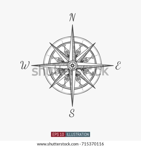 Blue illustration of a compass rose Stock Photo 363680273