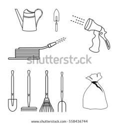 Vector Images Illustrations and Cliparts: Garden tools simple set of contour icons for landscape design Hqvectors com