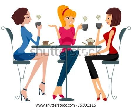 stock vector : Women drinking Coffee - Vector