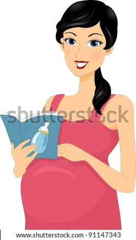 Illustration of a Pregnant Woman Reading a Baby Book - stock vector
